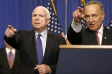 -                FILE - In this April 18, 2013 file photo, Sen. John McCain, R-Ariz., left, and Sen. Charles Schumer, D-N.Y. take questions during a news conference on immigration reform legislation, on