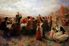 "-                FILE - This Tuesday, Nov. 15, 2005 photo shows a detail of the 1914 Jennie Brownscombe painting ""The First Thanksgiving at Plymouth"" hanging at the Pilgrim Hall Museum in Plymouth, Mass"