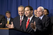 "-                FILE – In this April 18, 2013, file photo Sen. Marco Rubio, R-Fla., speaks at a Capitol Hill news conference with the Senate's ""Gang of Eight"", the bipartisan team pushing an immigratio"