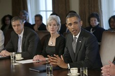 -                FILE - In this March 4, 2013, file photo President Barack Obama speaks to media at the start of a Cabinet meeting, including, from left, Education Secretary Arne Duncan, and Health and