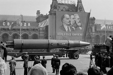 -                FILE - In this May 1, 1963 file photo, a Naval rocket is exhibited in Moscow's Red Square past a banner of Vladimir Lenin, Friedrich Engels and Karl Marx during the annual May Day parad
