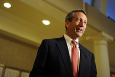 -                Former South Carolina Gov. Mark Sanford speaks to supporters during a campaign stop at the Historic Rotary Club of Charleston at the Citadel on Tuesday, April 30, 2013 in Charleston, S.