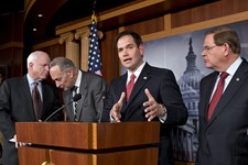 -                FILE – In this Jan. 28, 2013, file photo Sen. Marco Rubio, R-Fla., center, speaks at a Capitol Hill news conference on immigration legislation with a members of a bipartisan group of le