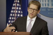 -                White House press secretary Jay Carney gestures as he speaks during his daily news briefing at the White House in Washington, Wednesday, May, 1, 2013. Carney said the White House is cur