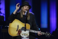 -                Kid Rock speaks during the funeral for country music star George Jones in the Grand Ole Opry House on Thursday, May 2, 2013, in Nashville, Tenn. Jones, one of country music's biggest st