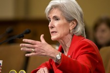 -                FILE - In this April 12, 2013 file photo, Health and Human Services (HHS) Secretary Kathleen Sebelius testifies on Capitol Hill in Washington before the House Ways and Means Committee h