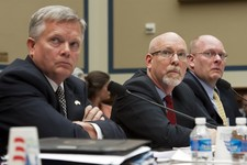 -                Mark Thompson, Acting Deputy Assistant Secretary for Counterterrorism, left, Gregory Hicks, former Deputy Chief of Mission in Libya, center, and Eric Nordstrom, Diplomatic Security Offi
