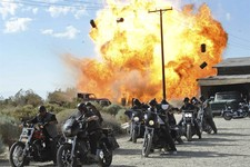 "-                FILE - In this file image released by FX, a scene is shown from the FX original series, ""Sons of Anarchy."" Television executives who spoke to the media recently about the tragic shootin"