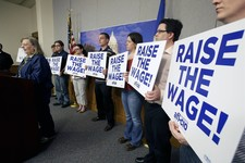 -                FILE - In this April 29, 2013, file photo Lyle Cafe owner Barbara Johnson of Winthrop, Minn., speaks in support of a bill to raise Minnesota's minimum wage during a news conference at t