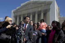 -                FILE - In this Feb. 27, 2013 file photo special counsel of the NAACP Legal Defense Fund, Debo Adegbile, speaks with the media outside the Supreme Court in Washington after presenting ar