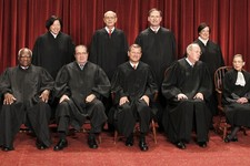 -                FILE - In this Oct. 8, 2010, file photo members of the U.S. Supreme Court gather for a group portrait at the Supreme Court in Washington. Seated from left are: Associate Justices Claren