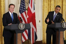 -                FILE – In this July 20, 2010, file photo President Barack Obama and British Prime Minister David Cameron, left, speak at a joint news conference in the East Room of the White House in W