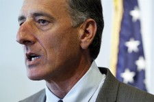 -                FILE - In this June 28, 2012 file photo, Gov. Peter Shumlin holds a news conference following the Supreme Court decision on the U.S. Affordable Health Care Act, in Montpelier, Vt. The V