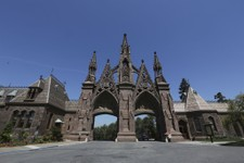 -                This May 2, 2013 photo shows the entrance to Brooklyn's Green-Wood Cemetery in New York. The 478-acre site, which is celebrating its 175th anniversary this year,  is entered through soa