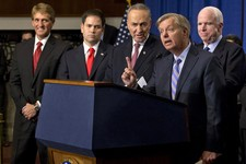 -                FILE - In this April 18, 2013 file photo, Sen. Lindsey Graham, R-S.C., second from right, speaks about immigration reform during a news conference on Capitol Hill in Washington. Senator