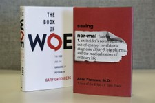 "-                This Monday, May 13, 2013 photo shows the books ""The Book of Woe"" by Gary Greenberg and ""Saving Normal"" by Allen Francis on display in Chicago. Recent criticism of changes in an update"
