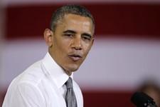 -                President Barack Obama talks about jobs at Ellicott Dredges in Baltimore, Friday, May 17, 2013, during his second Middle Class Jobs and Opportunity Tour.  (AP Photo/Luis M. Alvarez)
