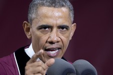 -                President Barack Obama gestures as he speaks during the Morehouse College 129th Commencement ceremony, Sunday, May 19, 2013, in Atlanta. Morehouse is the historically black, all-male in