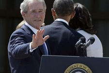 -                FILE – In this April 25, 2013, file photo former President George W. Bush turns to wave as he leaves with President Barack Obama and first lady Michelle Obama after the dedication of th