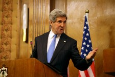-                U.S. Secretary of State John Kerry speaks during a joint news conference with his Jordanian counterpart, Nasser Judeh, not pictured, in Amman Wednesday, May 22, 2013. Secretary of State