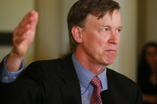 -                RETRANSMISSION TO CORRECT YEAR OF MURDERS - Colorado Gov. John Hickenlooper speaks at a news conference at the Capitol in Denver on Wednesday, May 22, 2013 where he announced that he wa