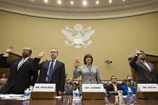 -                From left, Treasury Inspector General for Tax Administration J. Russell George,  former IRS Commissioner Douglas Shulman, Lois Lerner, head of the IRS unit that decides whether to grant