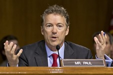 -                Sen. Rand Paul, R-Ky., expresses his displeasure that Apple CEO Tim Cook was being brought before the Senate Homeland Security and Governmental Affairs Permanent Subcommittee as the pan