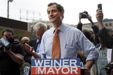 -                New York City mayoral hopeful Anthony Weiner speaks to reporters during a campaign event, Thursday, May 23, 2013 in New York. Weiner, who ran for mayor in 2005 and nearly did in 2009, i