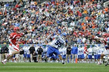 -                Duke's Bill Conners (55) takes a shots on goal and score while Cornell's Connor Buczek (33) defends during the first half of an NCAA division 1 semifinal lacrosse game on Saturday, May
