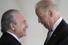 -                U.S. Vice President Joe Biden, right, talks with Brazil's Vice President Michel Temer during a photo opportunity at the Itamaraty palace in Brasilia, Friday, May 31, 2013. (AP Photo/Era