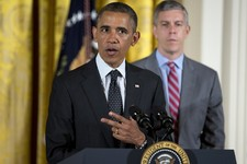 -                Education Secretary Arne Duncan listens as President Barack Obama speaks in the East Room of the White House in Washington, Monday, June 3, 2013, during the White House mental health co
