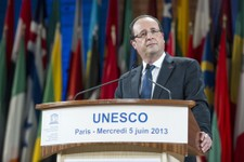-                French President Francois Hollande delivers his speech after receiving the Felix Houphouet-Boigny Peace Prize from Director-General of UNESCO Irina Bokova, unseen,  at the UNESCO headqu