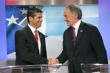 -                U.S. Senate candidate Republican Gabriel Gomez, left,  shakes hands with Democrat Edward Markey before the debate, Wednesday, June 5, 2013 in Brighton, Mass. Democrat Edward Markey and