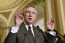 -                Senate Majority Leader Harry Reid of Nev. gestures as he speaks with reporters on Capitol Hill in Washington, Tuesday, June 4, 2013, following a Democratic strategy session.  (AP Photo/