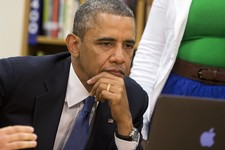 -                President Barack Obama views a math project during a tour of Mooresville Middle School in Mooresville,N.C., Thursday, June 6, 2013. The president traveled to Mooresville, N.C. to promot