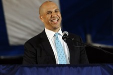 -                FILE - This  May 19, 2013. file photo, Newark Mayor Cory Booker delivers the main address during Class Day for Yale seniors at Yale University in New Haven, Conn.  A member of Newark Ma