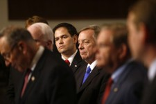 "-                FILE - In this April 18, 2013 file photo, Sen. Marco Rubio, R-Fla., center, and other members of immigration reform's bipartisan ""Gang of Heat,"" appear at a Capitol Hill news conference"