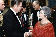 -                In this 1983 White House photo President Ronald Reagan greets newly elected U.S. Rep. Barbara Vucanovich, and her husband, George Vucanovich on their first White House dinner honoring n