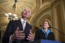 -                Sen. Thad Cochran, R-Miss., the ranking member of the Senate Agriculture Committee, left, and Sen. Debbie Stabenow, D-Mich., the committee chair, speak to reporters as the Senate votes