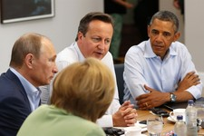 -                G8 leaders from left, German Chancellor Angela Merkel, Russian President Vladimir Putin, Britain's Prime Minister David Cameron and US President Barack Obama attend a working session du