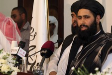 -                Muhammad Naeem a representative of the Taliban speaks during a press conference at the official opening of their office in Doha, Qatar, Tuesday, June 18, 2013. In a major breakthrough,