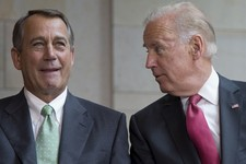 -                House Speaker John Boehner of Ohio and Vice President Joe Biden talk during ceremony to dedicate the statue of Frederick Douglass, Wednesday, June 19, 2013, in the Emancipation Hall of
