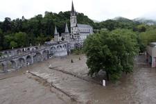 -                The sanctuary of Lourdes flooded, in Lourdes, southwestern France, Tuesday, June 18, 2013. French rescue services and police are evacuating hundreds of pilgrims from hotels threatened b