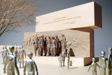-                This handout image courtesy of Gehry Partners, LLP, 2013 shows the planned Dwight D. Eisenhower Memorial in Washington. Additional stone or bronze carvings depicting Dwight D. Eisenhowe
