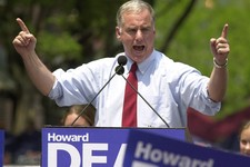 -                FILE - In this June 23, 2003 file photo, former Vermont Gov. Howard Dean points to the crowd in Burlington, Vt., during his presidential campaign announcement. Dean's fans will be gathe