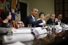 -                President Barack Obama speaks during his meeting in the Roosevelt Room of the White House in Washington, Monday, June 24, 2013, with CEOs, business owners and entrepreneurs to discuss i