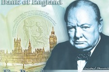 -                FILE -This a a computer generated file image provided by the Bank of England Friday April 26, 2013, showing the concept design for the reverse of the new 5-pound note, with a picture of