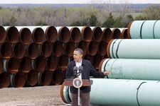 -                FILE - In this Thursday, March 22, 2012 file photo, President Barack Obama speaks at the TransCanada Pipe Yard in Cushing, Okla. The president says that the proposed Keystone XL pipelin