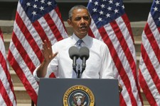 -                President Barack Obama speaks about climate change, Tuesday, June 25, 2013, at Georgetown University in Washington. The president is proposing sweeping steps to limit heat-trapping poll