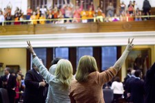 -                In this Tuesday, June 25, 2013 photo, Texas state Senators Wendy Davis, left, and Sylvia R. Garcia cast their votes against Senate Bill 5 amidst the cheers of the Senate Gallery, in Aus